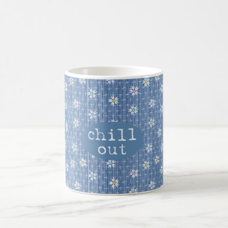 Chill out faded blue denim look with flowers coffee mug