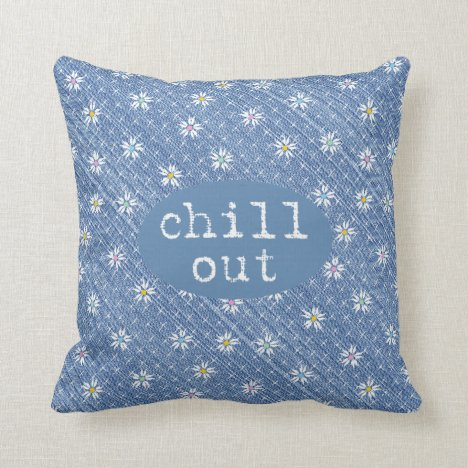 Chill Out faded light blue denim pretty floral Throw Pillow