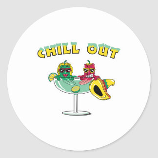 Chill Out Margarita Chili Peppers Classic Round Sticker