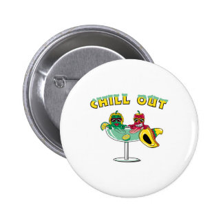 Chill Out Margarita Chili Peppers Pinback Button