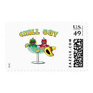 Chill Out Margarita Chili Peppers Postage Stamp