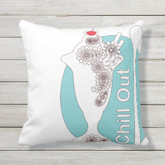 Chill Out - Paisley Ice Cream Sundae Girly Cute Outdoor Pillow