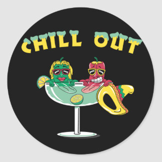 Chill Out Peppers Classic Round Sticker