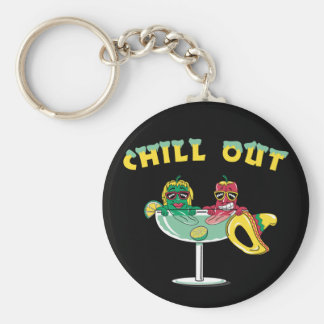 Chill Out Peppers Basic Round Button Keychain