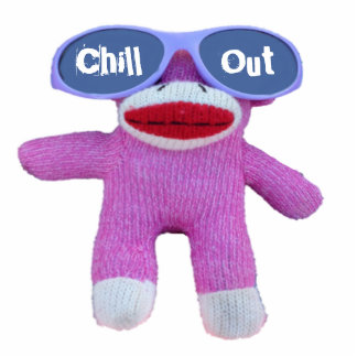 Chill Out Pink Sock Monkey Cut Out Magnet