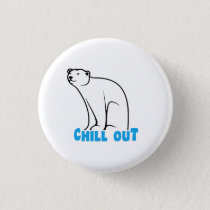 Chill Out Polar Bear Pinback Button