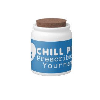 "CHILL PILLS custom ""prescription"" jars Candy Dishes"