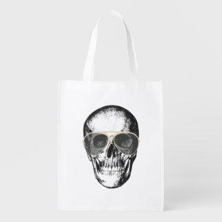 Chill Skull Vintage Sunglasses Reusable Grocery Bag