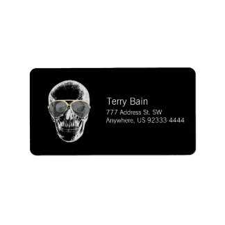 Chill Vintage Skull in Sunglasses Label