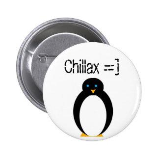 chillax penguin pinback button