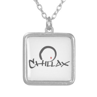 Chillax with Enso and Peace Sign Silver Plated Necklace
