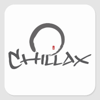 Chillax with Enso and Peace Sign Square Stickers