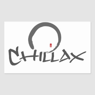 Chillax with Enso and Peace Sign Rectangular Sticker