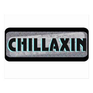 Chillaxin On Metal Postcard