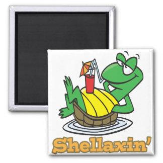 chillaxin shellaxin chill relaxing cute turtle 2 inch square magnet