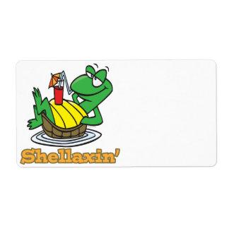 chillaxin shellaxin chill relaxing cute turtle personalized shipping label