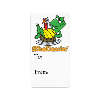 chillaxin shellaxin chill relaxing cute turtle custom address label