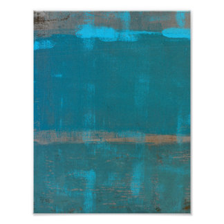 'Chilled' Teal Abstract Art Poster