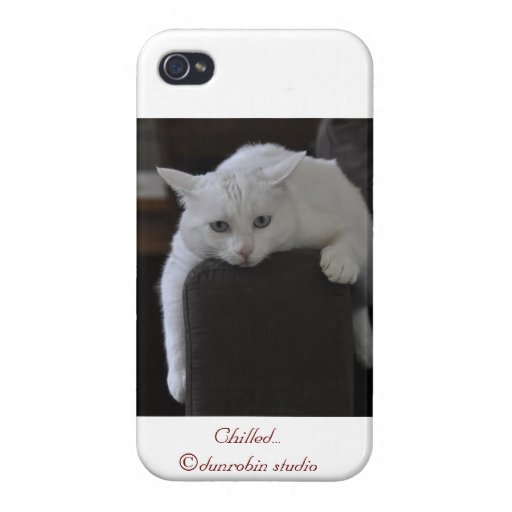chilled white cat  iphone cover ©comic kitten cases for iPhone 4