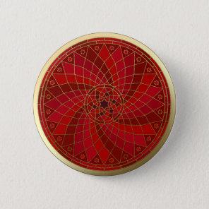 Chilli Bean Swirl Gold Trim Mandala button