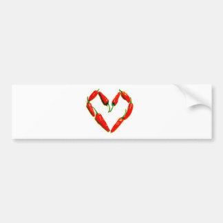 chilli heart car bumper sticker