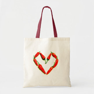 chilli heart tote bag