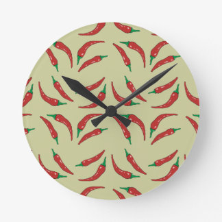 chilli pepper cookery round wall clocks