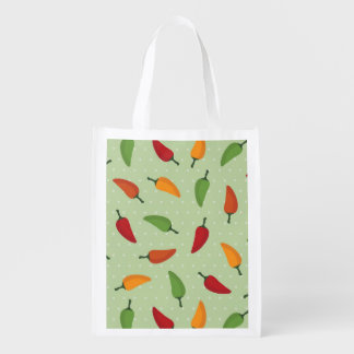 Chilli pepper pattern reusable grocery bag