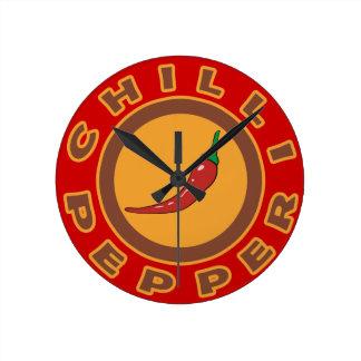 chilli pepper. spice round clock
