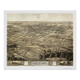 Chillicothe, mapa panorámico del MES - 1869 Póster
