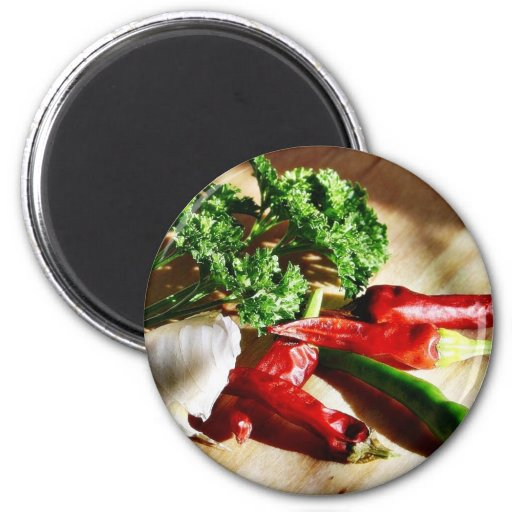 Chillies Chili Peppers Garlic Parsley 2 Inch Round Magnet
