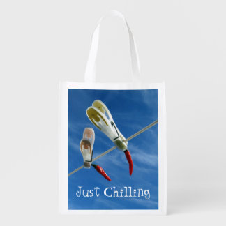 Chillies on the Washing Line Reusable Bag Reusable Grocery Bags