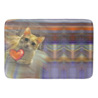 Chillin Cat flashing Heart Bath Mat Bath Mats