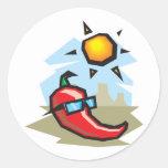 chillin chili pepper classic round sticker