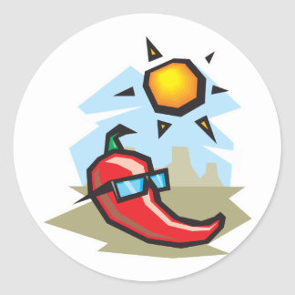 chillin chili pepper classic round sticker