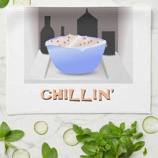 """Chillin'"" Chocolate Chip Cookie Dough In Fridge Kitchen Towel"