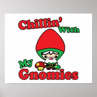 Chillin con mi Toadstool del gnomo de Gnomies Kawa Poster