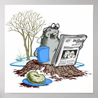 Chillin divertido hacia fuera Groundhog Poster
