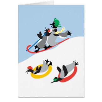 Chillin' Fun Penguins Sledding! Greeting Card