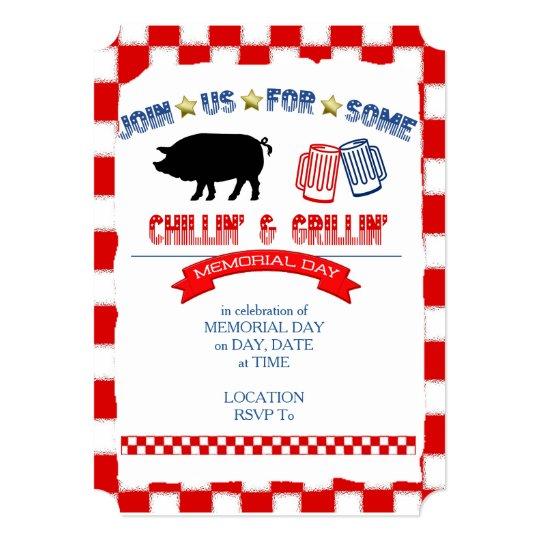 chillin grillin memorial day party invitations zazzle com