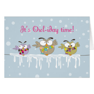 Chillin' Owls Christmas Holiday Greeting Card