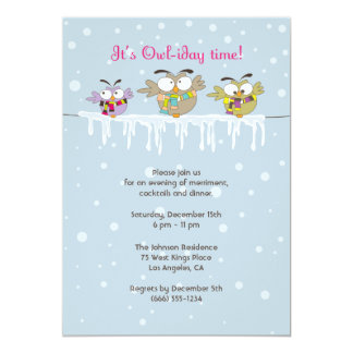 Chillin' Owls Holiday Party Invitation Card