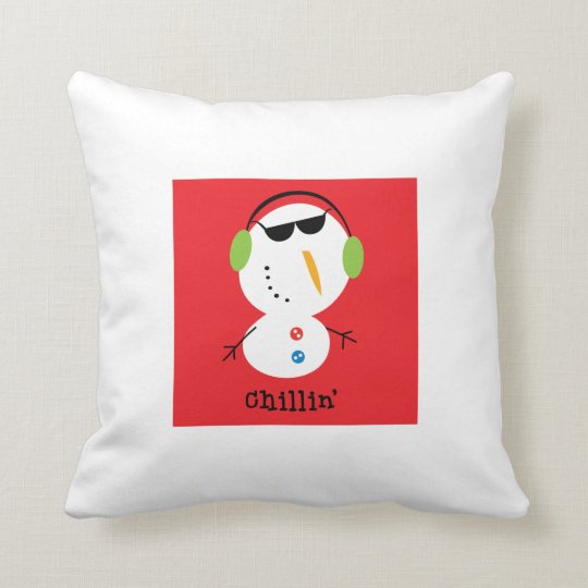 Chillin' snowman pillow