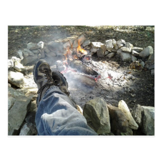 Chillin with my feet up by the campfire postcard