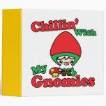 Chillin With My Gnomies Kawaii Gnome Toadstool Vinyl Binder