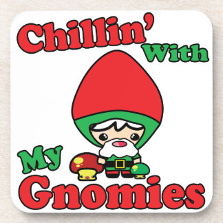 Chillin With My Gnomies Kawaii Gnome Toadstool Beverage Coaster