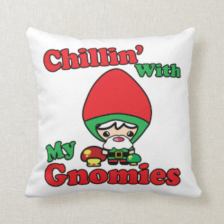 Chillin With My Gnomies Kawaii Gnome Toadstool Throw Pillow