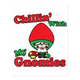 Chillin With My Gnomies Kawaii Gnome Toadstool Postcard