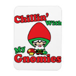 Chillin With My Gnomies Kawaii Gnome Toadstool Vinyl Magnets