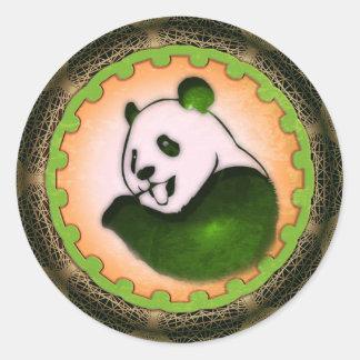 Chilling Chomping Panda Orange Classic Round Sticker